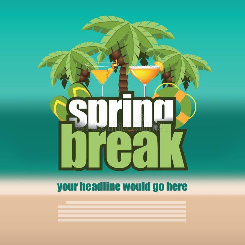 春假在模糊的海滩背景的棕榈树 库存例证