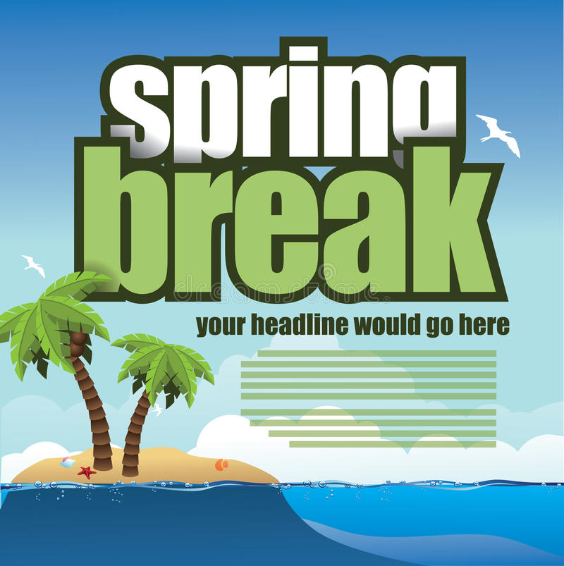 春假在海滩背景的棕榈树 皇族释放例证