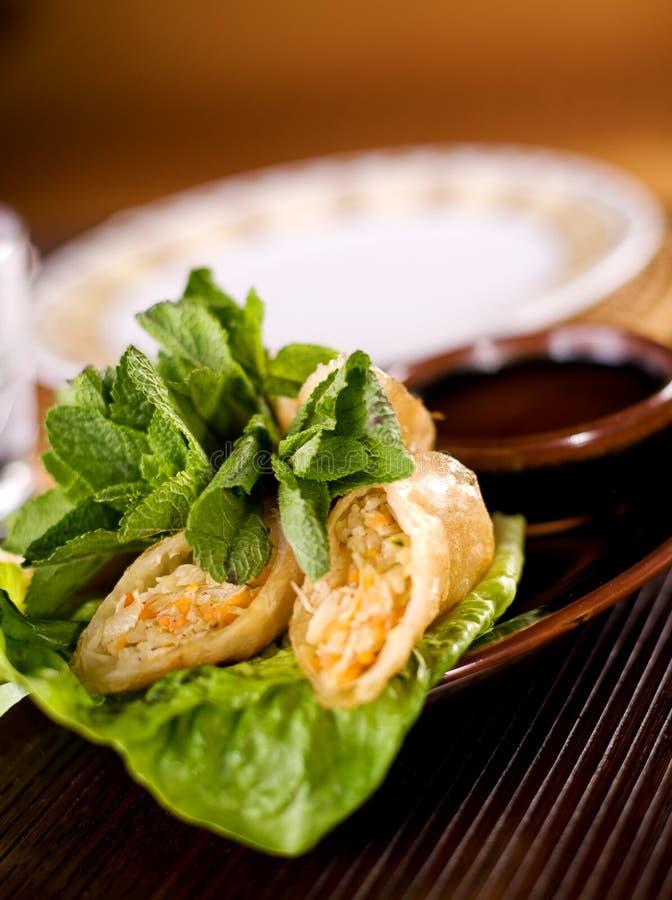 春卷传统用调味汁 库存图片