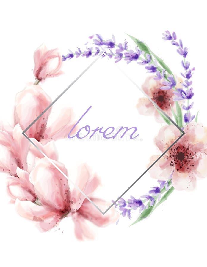 春天与五颜六色的花框架传染媒介水彩的夏天卡片 桃红色精美花 向量例证