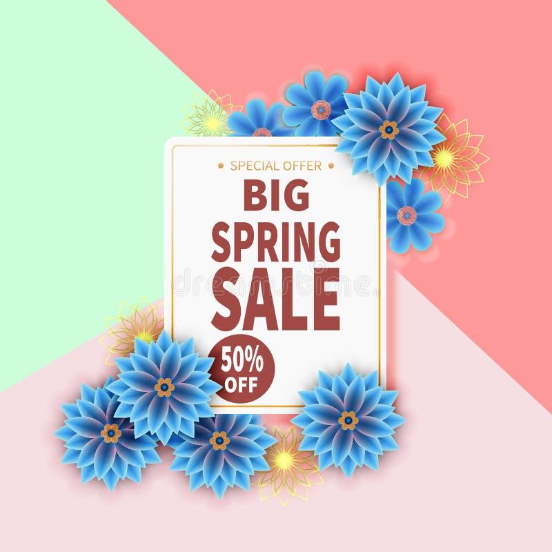 春天与五颜六色的花的销售横幅 向量例证
