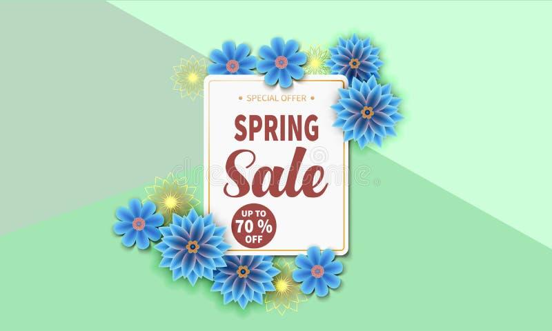 春天与五颜六色的花的销售横幅 库存例证