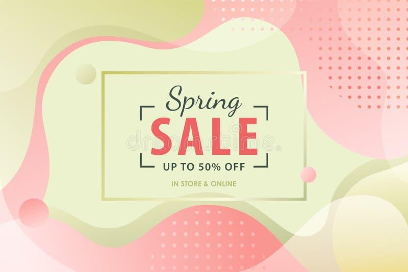 春天与桃红色和绿色可变的形状的销售背景 库存例证