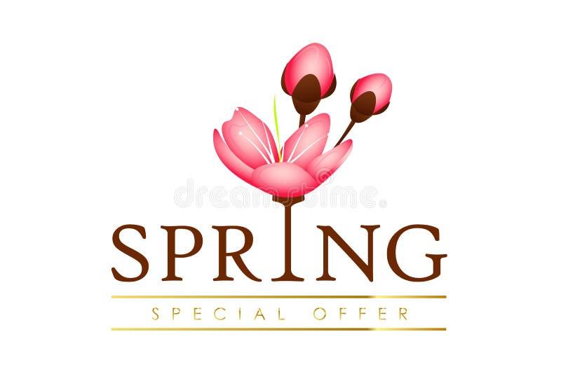 春天与樱桃开花的花桃红色瓣的印刷术特价 库存例证