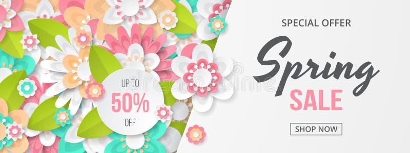 春天与美丽的五颜六色的花的销售横幅 库存例证