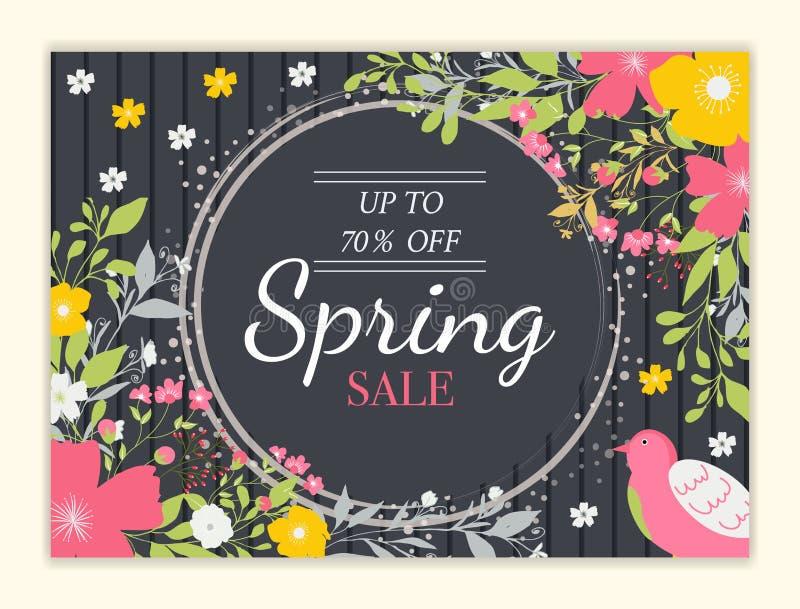 春天与美丽的五颜六色的花的销售背景 库存例证