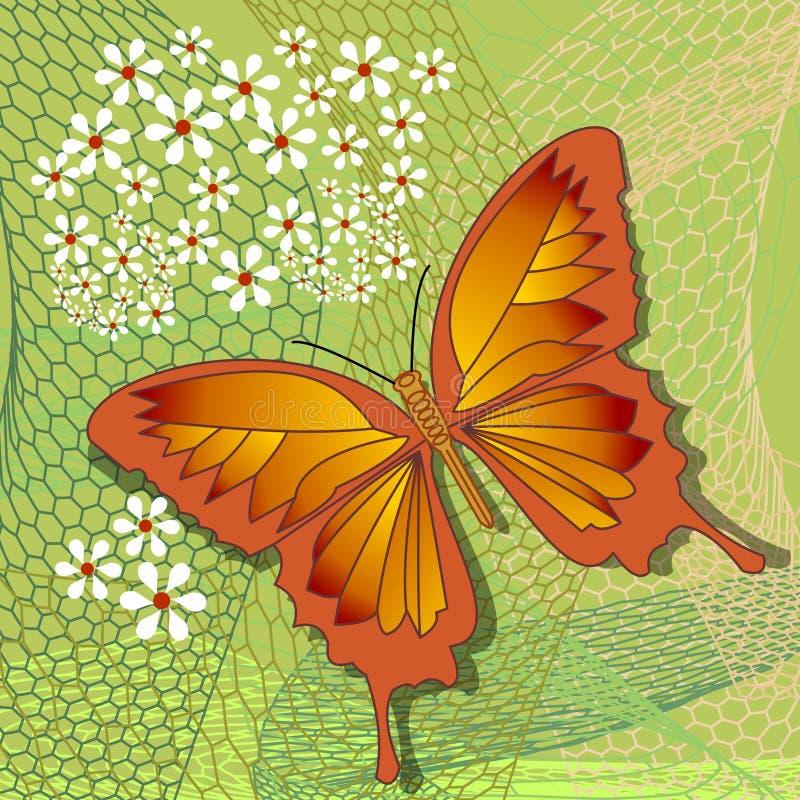 春天与黄色蝴蝶的设计题材在与白花的参差不齐的栅格在浅绿色的背景,抽象传染媒介 库存例证