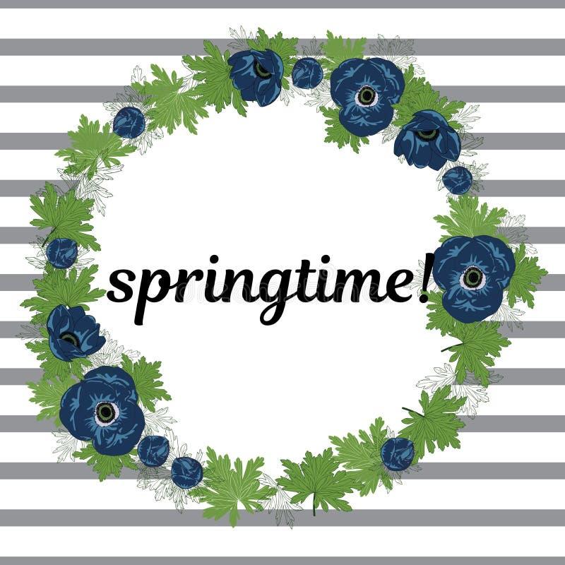 春天传染媒介例证 花卉圆的框架由银莲花属花制成在镶边背景 E 库存照片