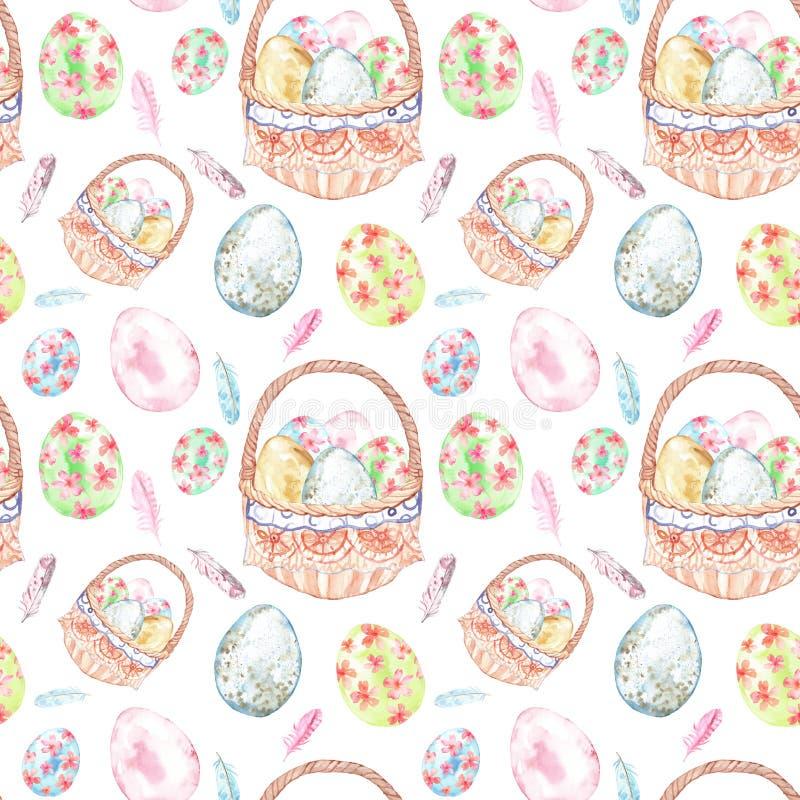 水彩复活节无缝的样式 春天假日复活节篮子的手画标志用鸡蛋 库存照片