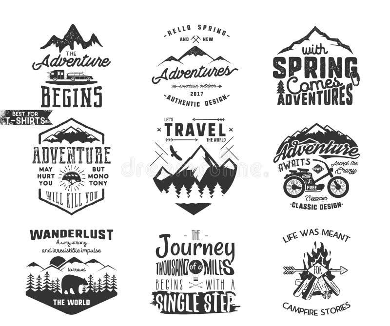 春天冒险和山探险家印刷术标号组 户外活动激动人心的权威 剪影 向量例证