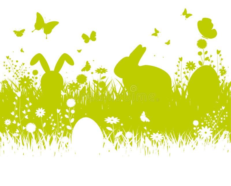 春天剪影复活节背景 向量例证