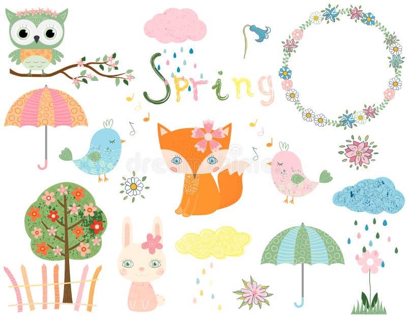 春天动物和设计元素 库存例证