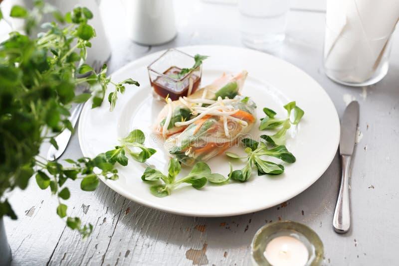 春天劳斯 一顿健康和清淡的素食快餐 图库摄影