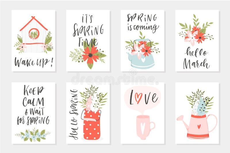 春天卡集,与行情,书法,花,花圈,叶子的手拉的元素 库存例证