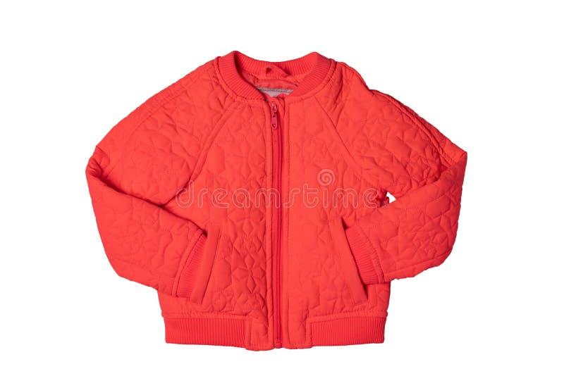 春天和秋天的儿童的夹克 时髦的红色温暖的下来ja 库存照片