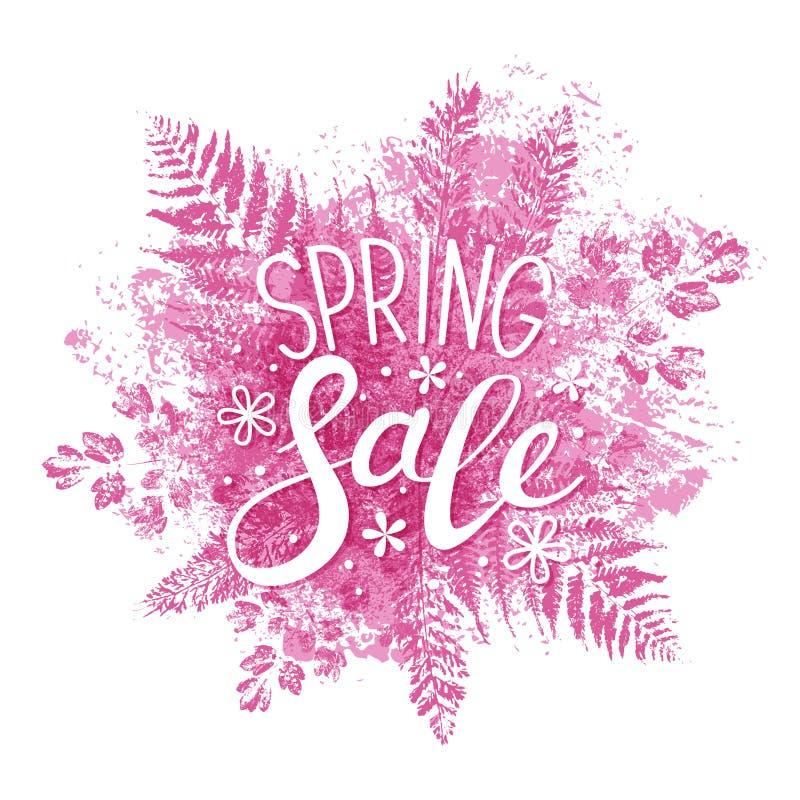 春天在桃红色叶子的销售消息 向量例证