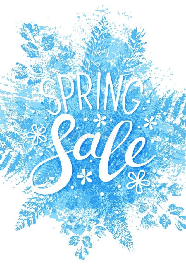 春天在蓝色叶子的销售消息 向量例证