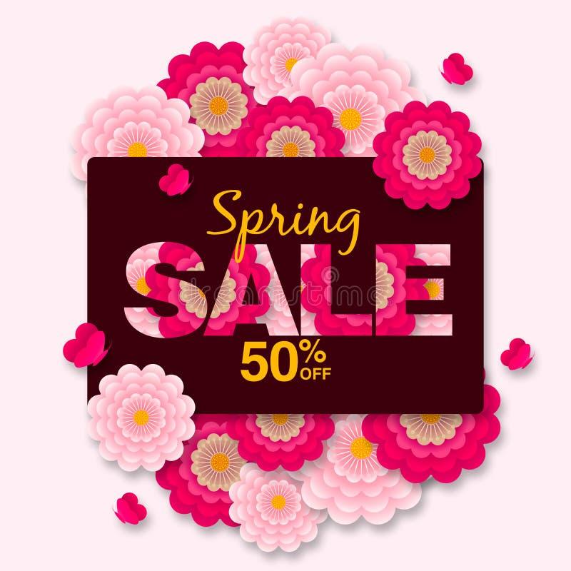 春天增进横幅背景的销售提议50%与五颜六色的花 皇族释放例证