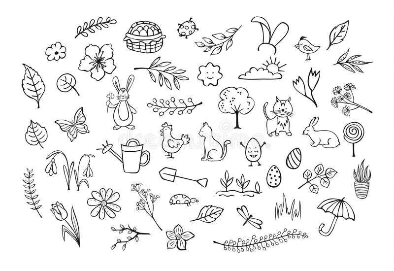 春天复活节被概述的手拉的simpe纯稚乱画 向量例证