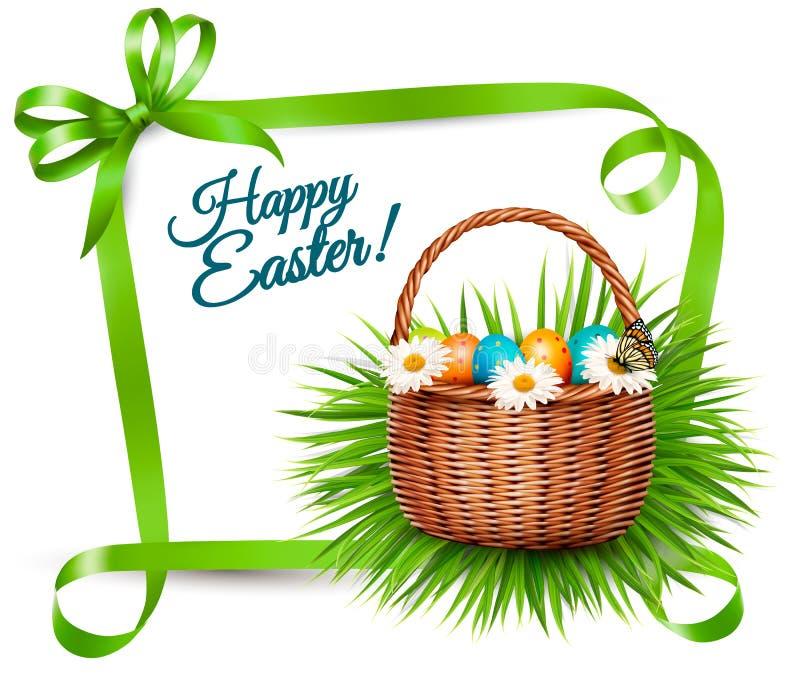 春天复活节背景 在草的复活节彩蛋与花 向量例证