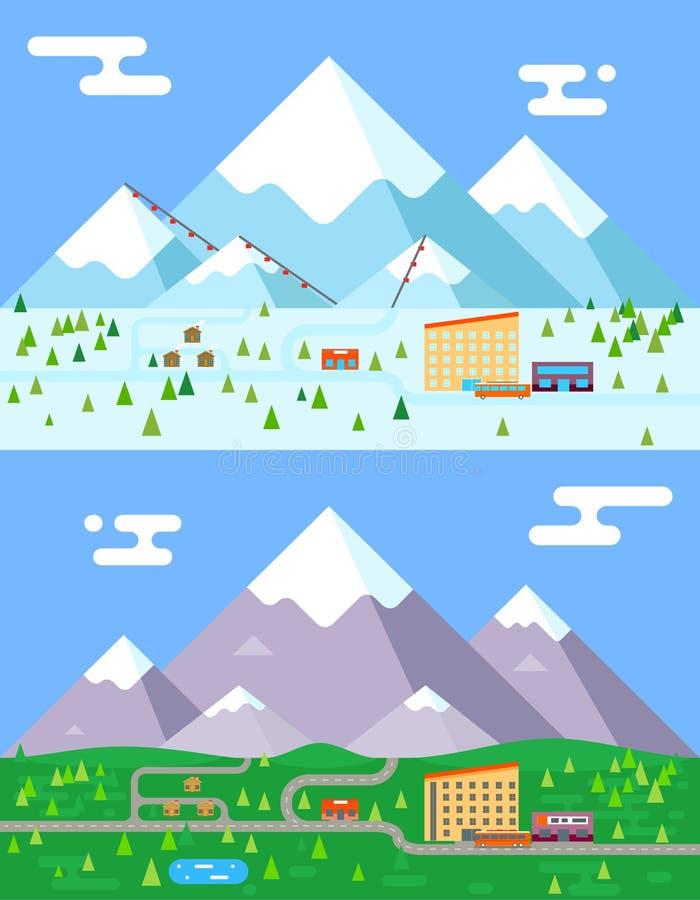 春天夏天冬天季节山村旅馆手段假日公共汽车商店缆索铁路的平的设计传染媒介例证 向量例证