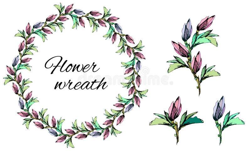春天套装饰卡片和问候的精美桃红色花花卉样式、装饰品和传染媒介花圈  向量例证
