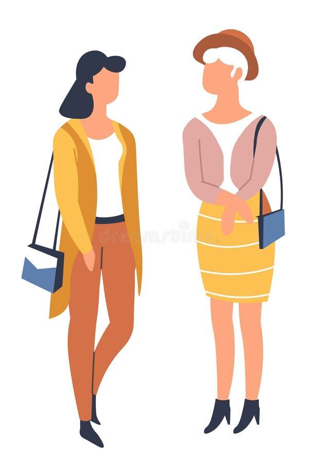 春天女朋友时髦的成套装备季节性衣裳 向量例证