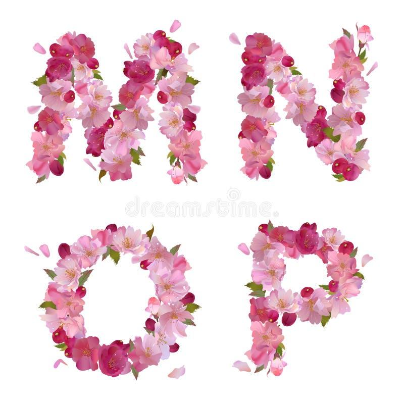 春天字母表用樱桃开花MNOP 向量例证
