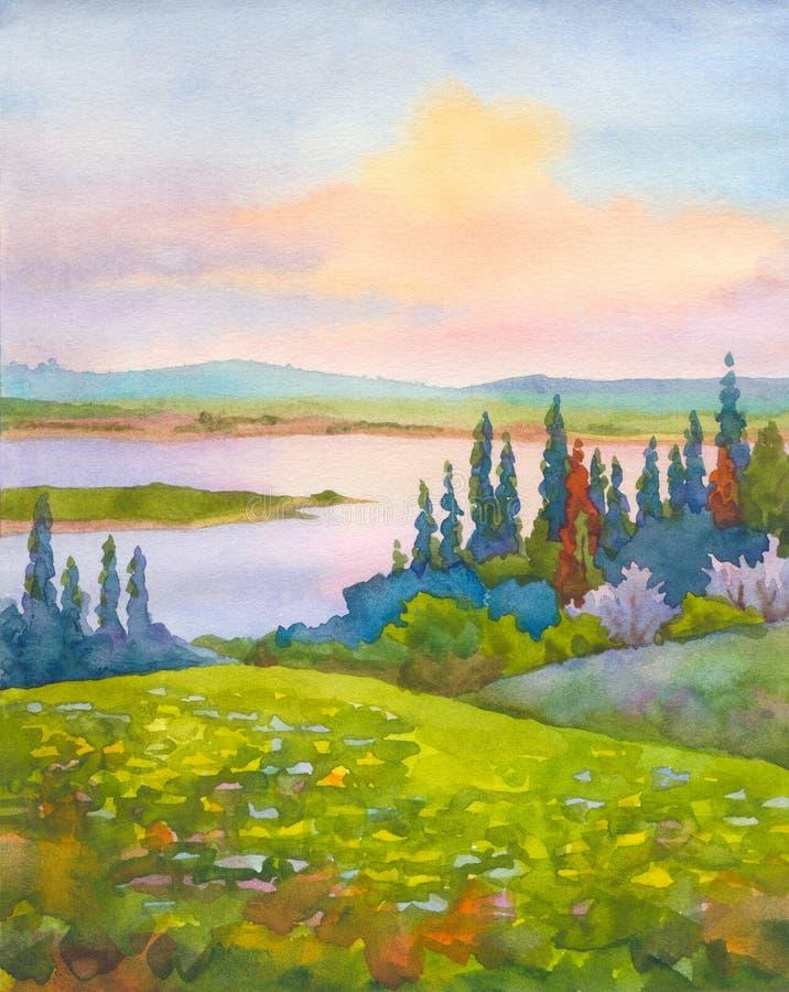 从春天小山的看法在谷的河 皇族释放例证