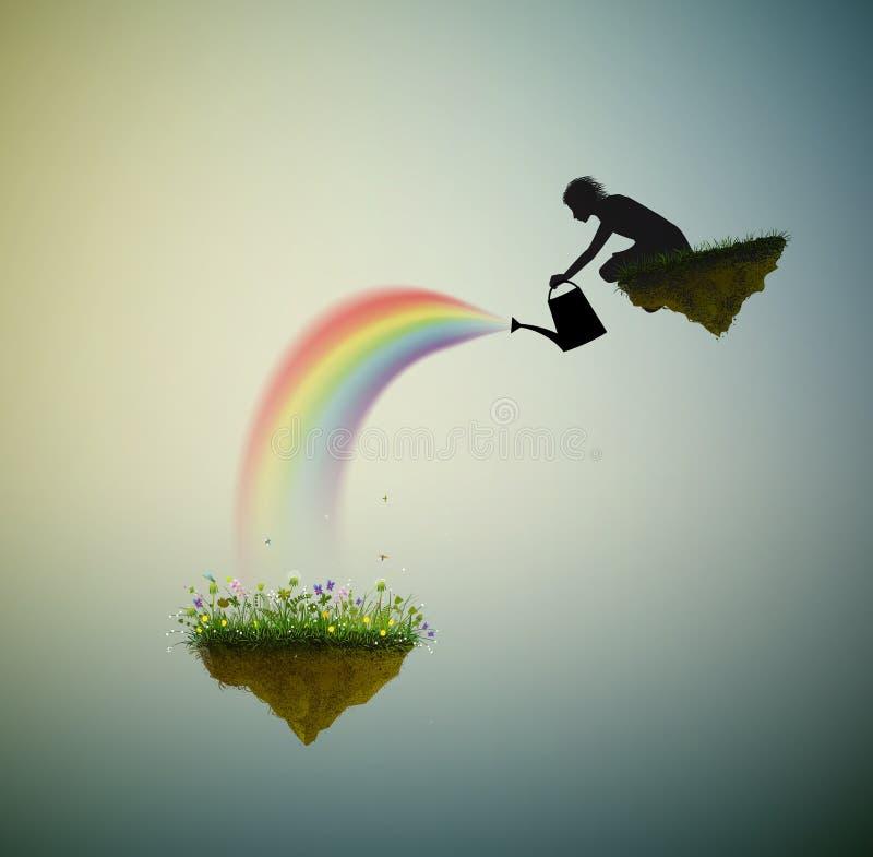 春天幻想、童话夏天、不可思议的雨、男孩或者神浇灌在飞行岩石的花,黑白, 向量例证