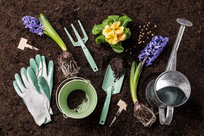 春天庭院工作 园艺工具和花在土壤 免版税库存照片