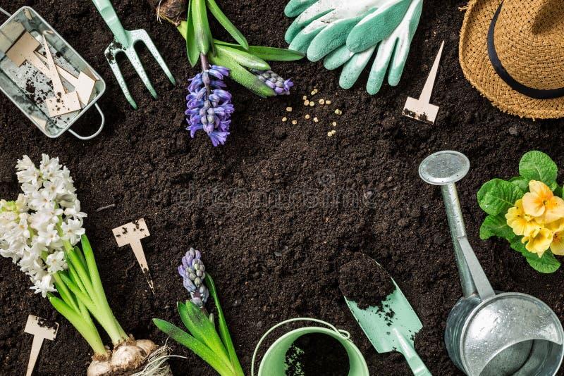 春天庭院工作 园艺工具和花在土壤 库存图片