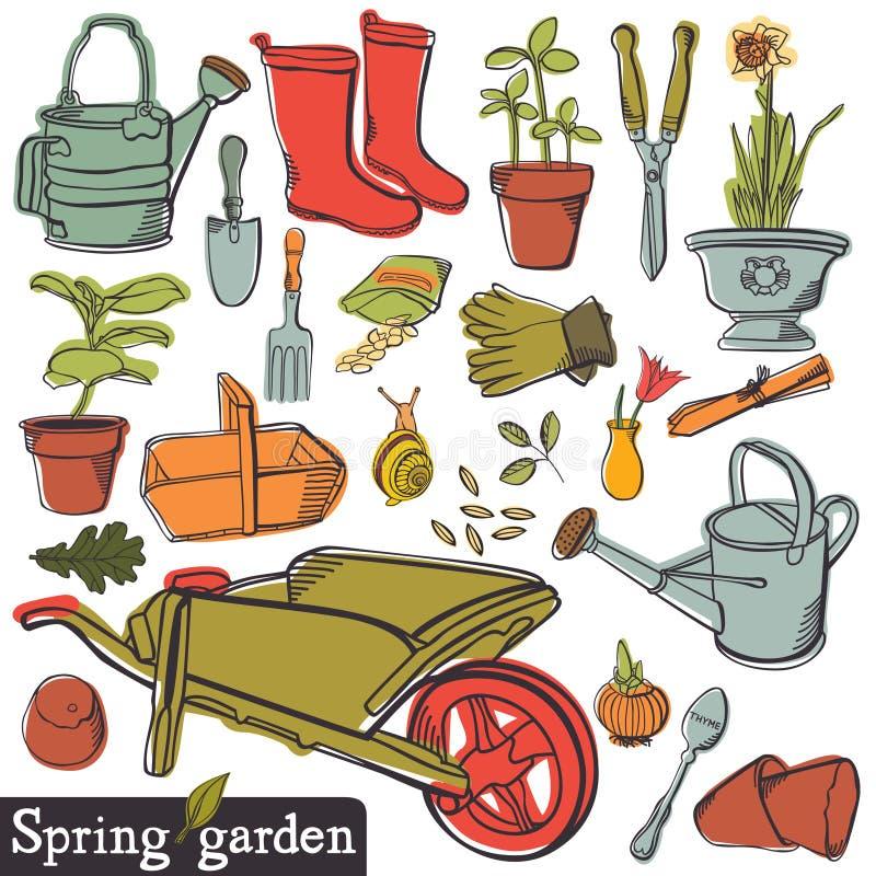 春天庭院集合 向量例证