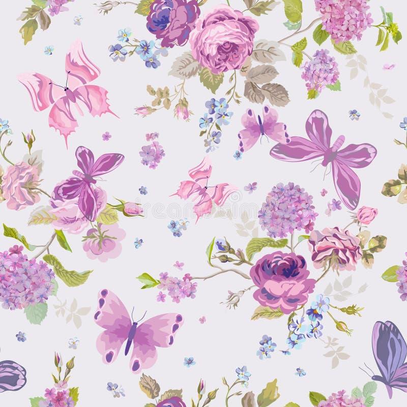 春天开花与蝴蝶的背景 皇族释放例证