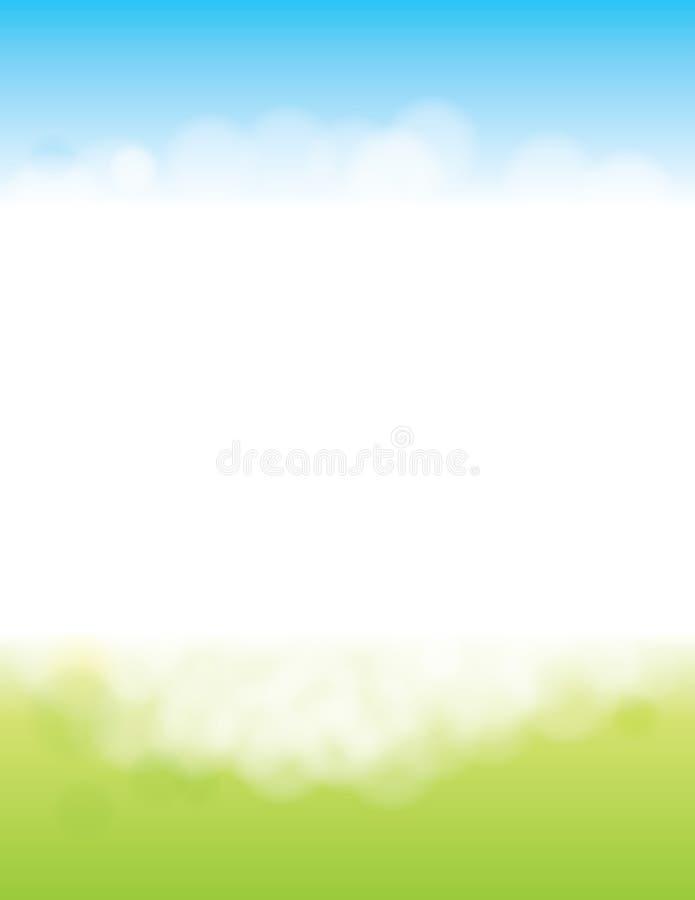 春天或夏天背景与草和天空 库存图片