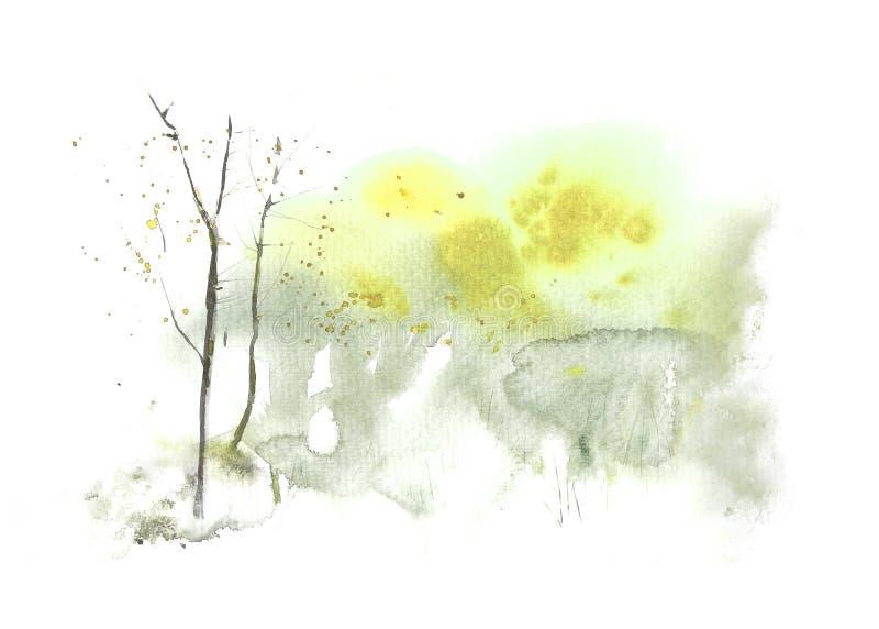 春天摘要与树的水彩风景 水彩污点和洗涤 手画,高分辨率 库存例证