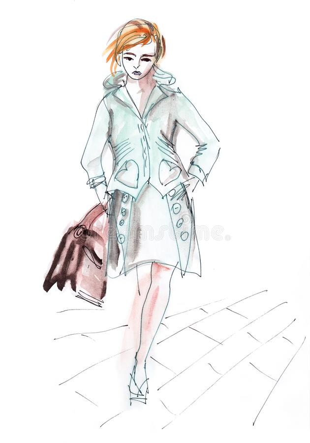 春天时尚-夹克和裙子的手拉的美丽的妇女 免版税库存照片