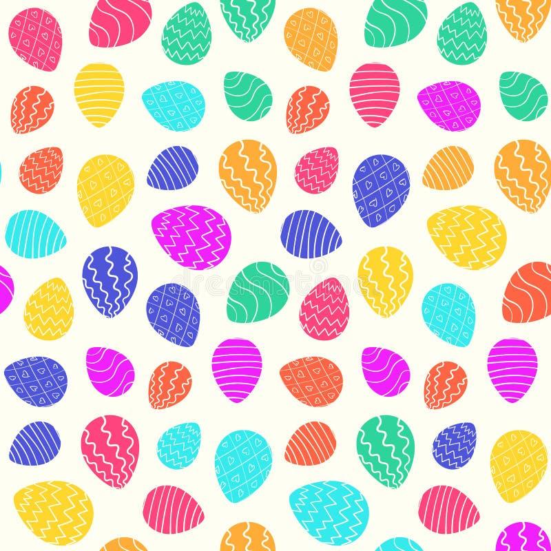 春天明亮的颜色复活节样式用鸡蛋 库存例证