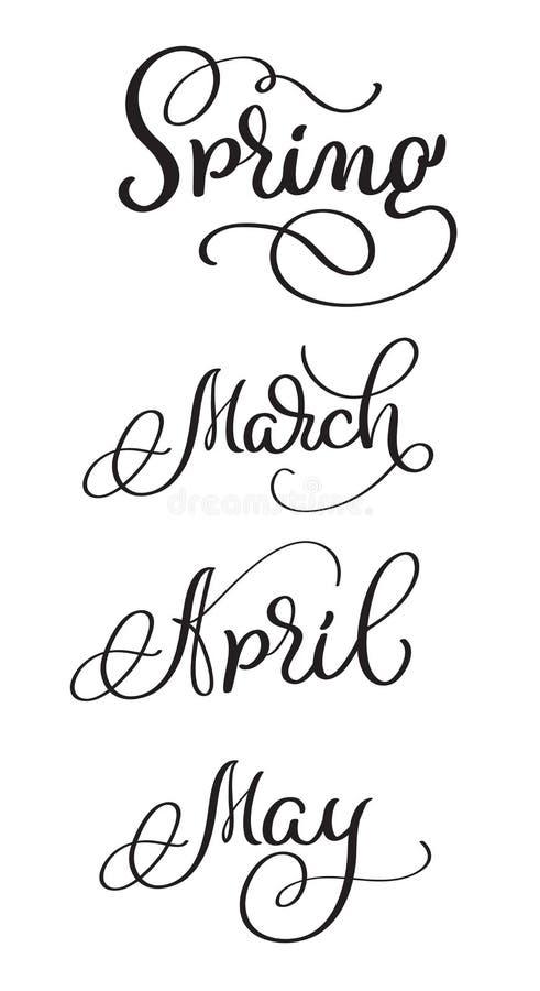 春天月行军4月可以在白色背景的词 手拉的葡萄酒书法字法传染媒介例证 皇族释放例证