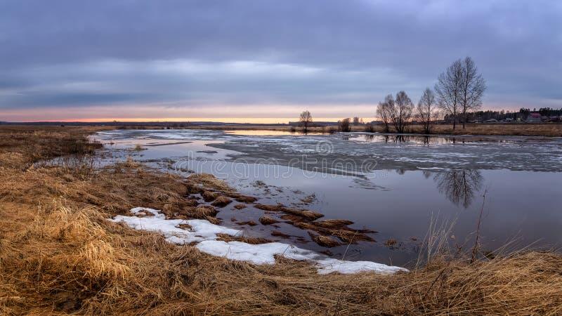 春天有树的日落全景在河岸和冰,俄罗斯,乌拉尔, 免版税图库摄影