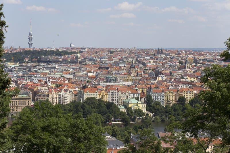 春天有绿色自然的布拉格市从小山佩特林,捷克 免版税库存照片