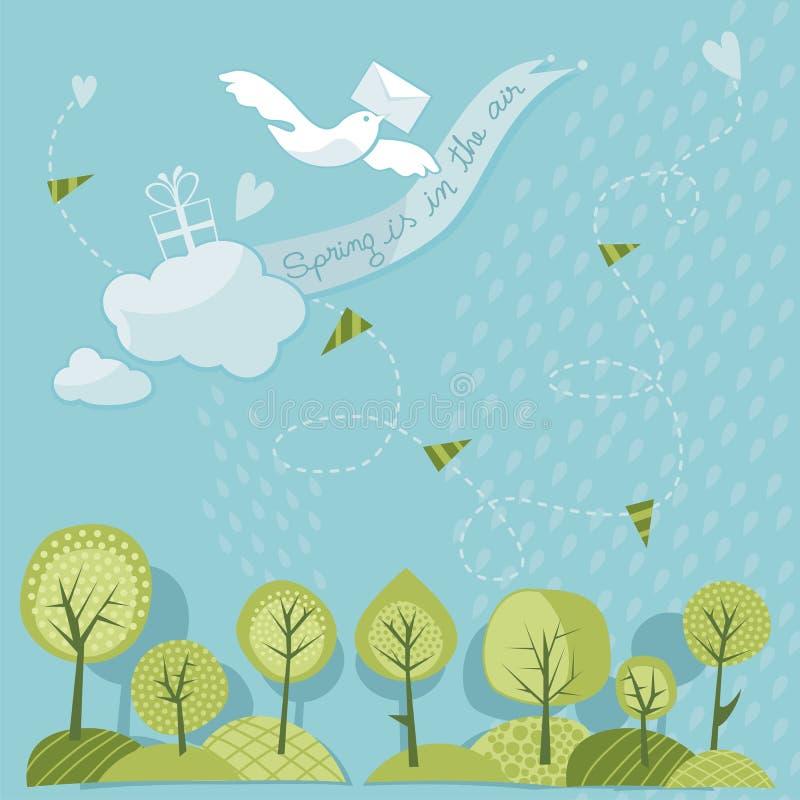春天树和天空 向量例证