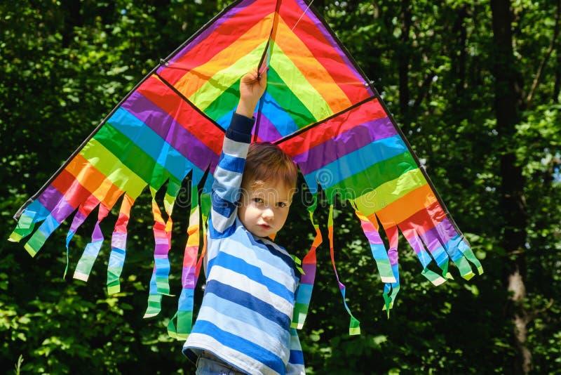 春天概念想法,春天背景环境,生物 在使用在领域,公园天的夏天男孩的风筝,室外 免版税图库摄影
