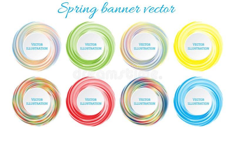 春天横幅传染媒介 抽象横幅、模板设计的和浆糊发短信 横幅五颜六色的集 设计图象 库存例证