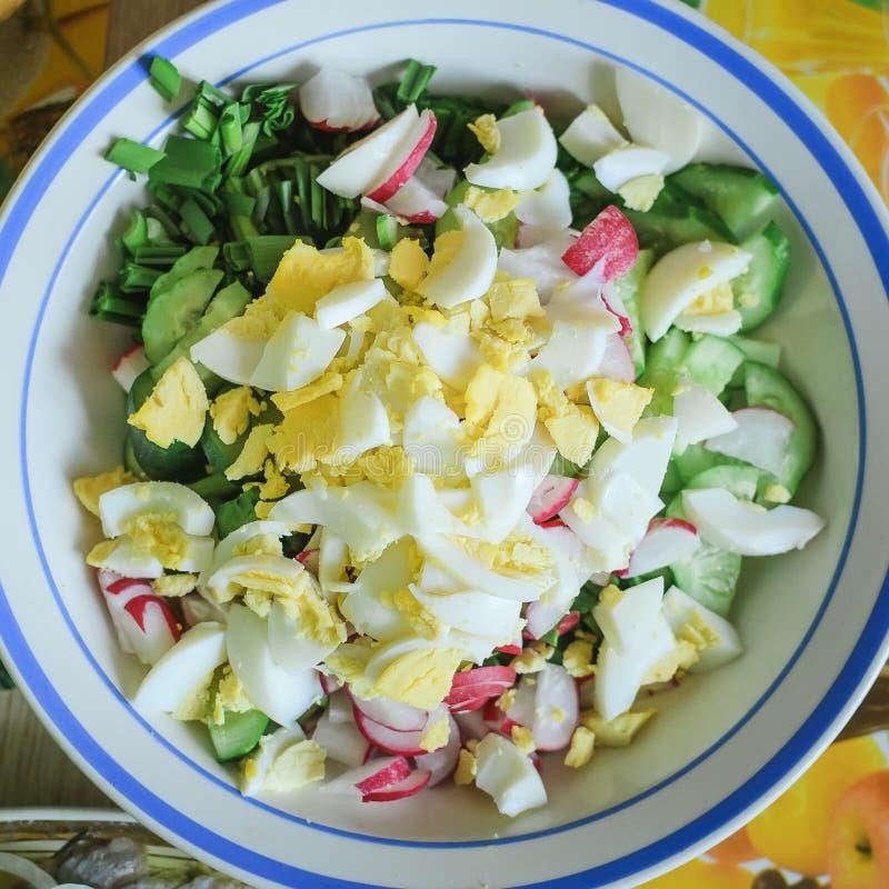 春天沙拉用萝卜、黄瓜、鸡蛋和酸性稀奶油 特写镜头,选择聚焦 库存图片