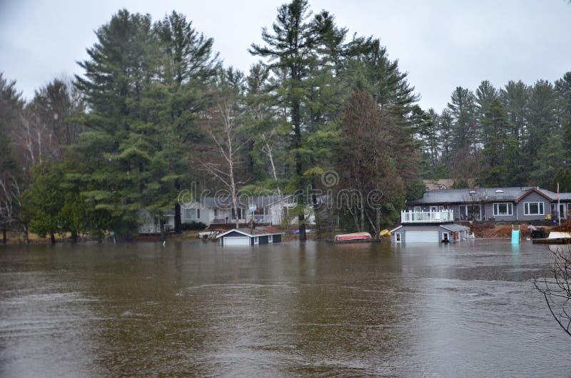 春天洪水在布雷斯布里奇,2019年 免版税库存照片