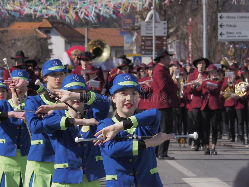 春天游行的指挥队 库存图片