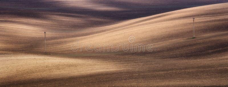 春天犁了与土壤波浪的农业领域背景 免版税库存照片