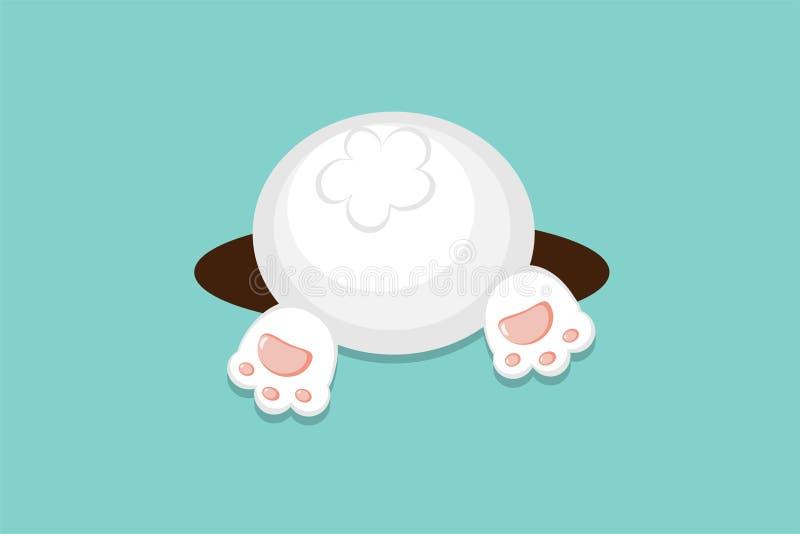 春天的复活节传染媒介平的样式白色兔宝宝收获感恩节海报,横幅,商标,贺卡的底部或秋天, 皇族释放例证
