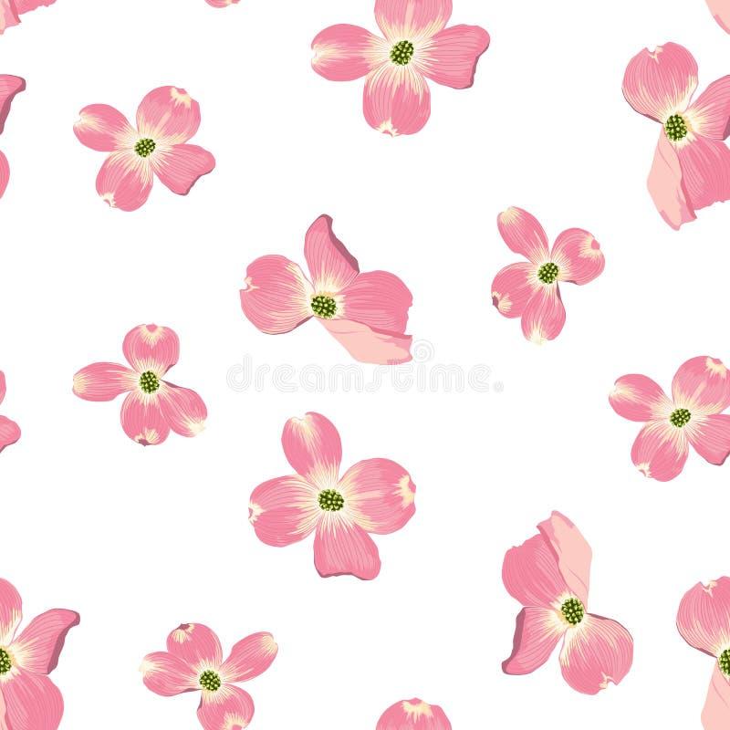 春天秋天开花无缝的样式 水彩样式花卉背景 库存例证